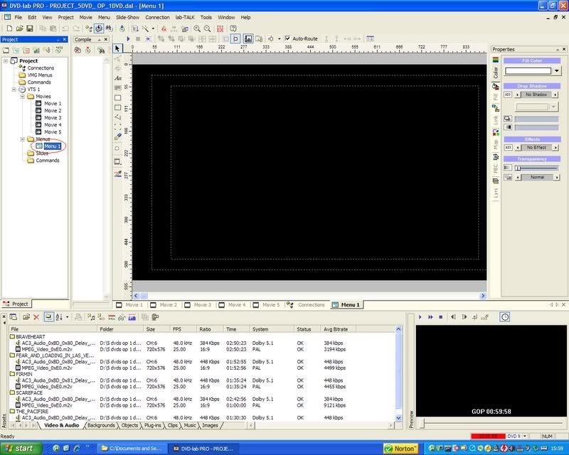 5 DVD's op 1 DVDschijf met menu Stap31
