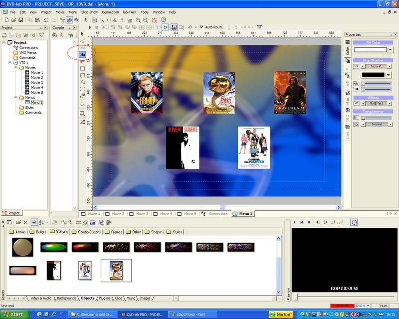 5 DVD's op 1 DVDschijf met menu Stap38