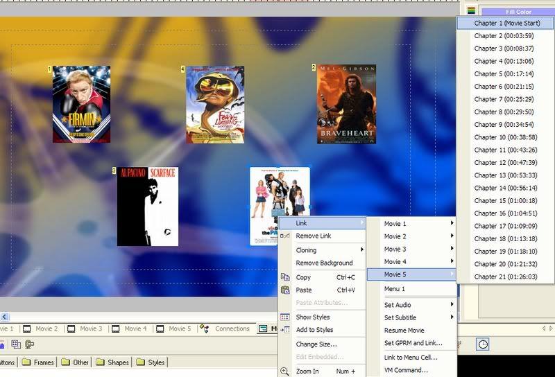 5 DVD's op 1 DVDschijf met menu Stap45