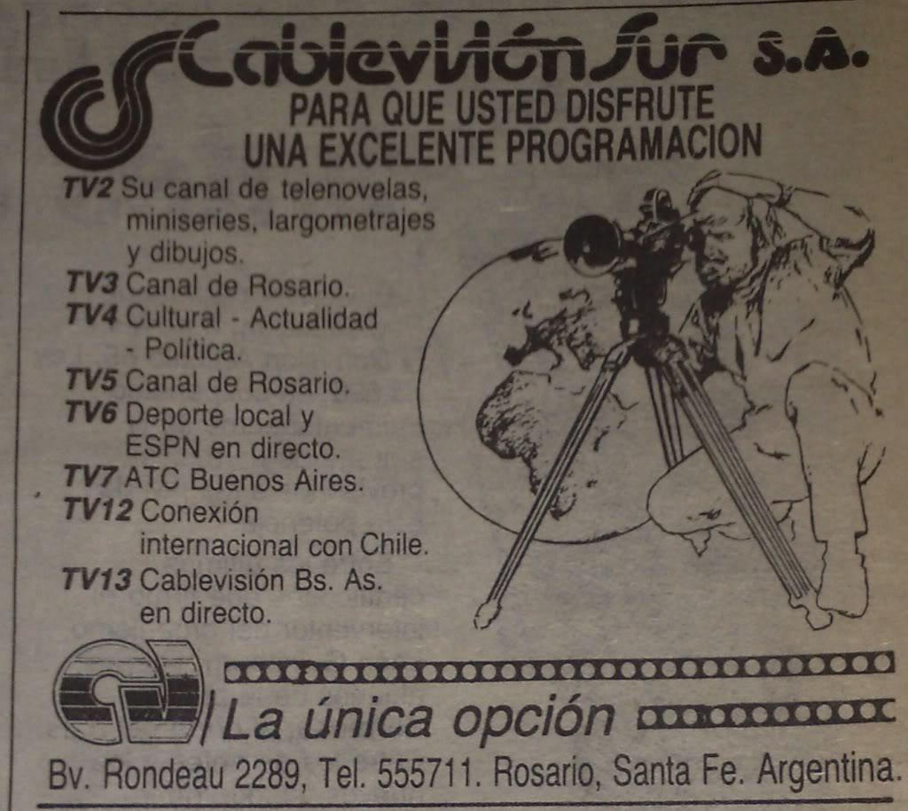 Publicidad grafica de Cablevision Sur Rosario de 1990 02092011592