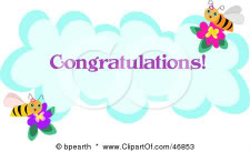 CONGRATULATIONS TO DEBBIE D, APRIL MEMBER OF THE MONTH 46853-Royalty-Free-RF-Clipart-Illustration-Of-A-Congratulations-Bee-Greeting-On-A-Cloud