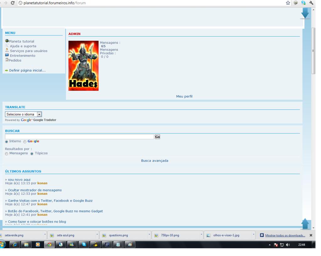 Código do widget causa bugs no fórum Pt