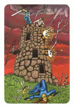 Today's Card - 0 The Fool,  A King's Journey Tarot 16TheTower-AKingsJourneyTarot_0005