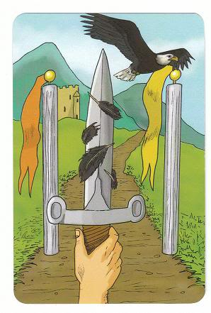 Today's Card - 0 The Fool,  A King's Journey Tarot 1-AceofSwords-AKingsJourneyTarot_0005