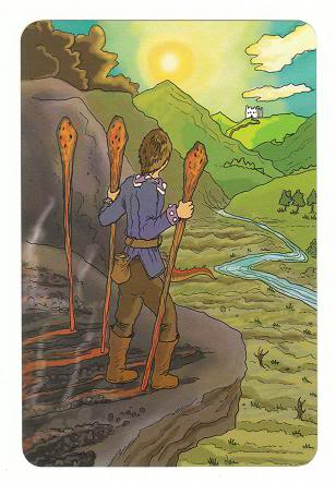 Today's Card - 0 The Fool,  A King's Journey Tarot 3ofWands-AKingsJourneyTarot_0005
