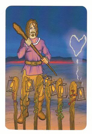 Today's Card - 0 The Fool,  A King's Journey Tarot 7ofWands-AKingsJourneyTarot_0005