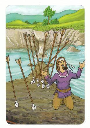 Today's Card - 0 The Fool,  A King's Journey Tarot 9ofWands-AKingsJourneyTarot_0005