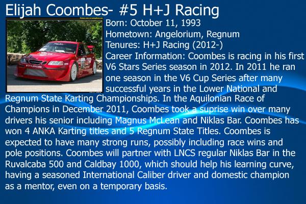 2012 V6 Stars Series Driver Cards: Full Rundown on all 23 drivers 06ElijahCoombes