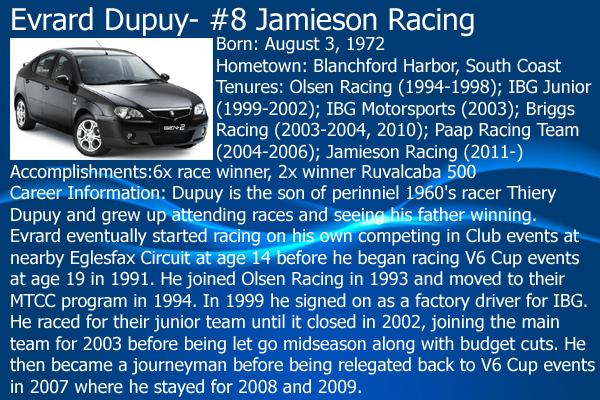 2012 V6 Stars Series Driver Cards: Full Rundown on all 23 drivers 08EvrardDupuy