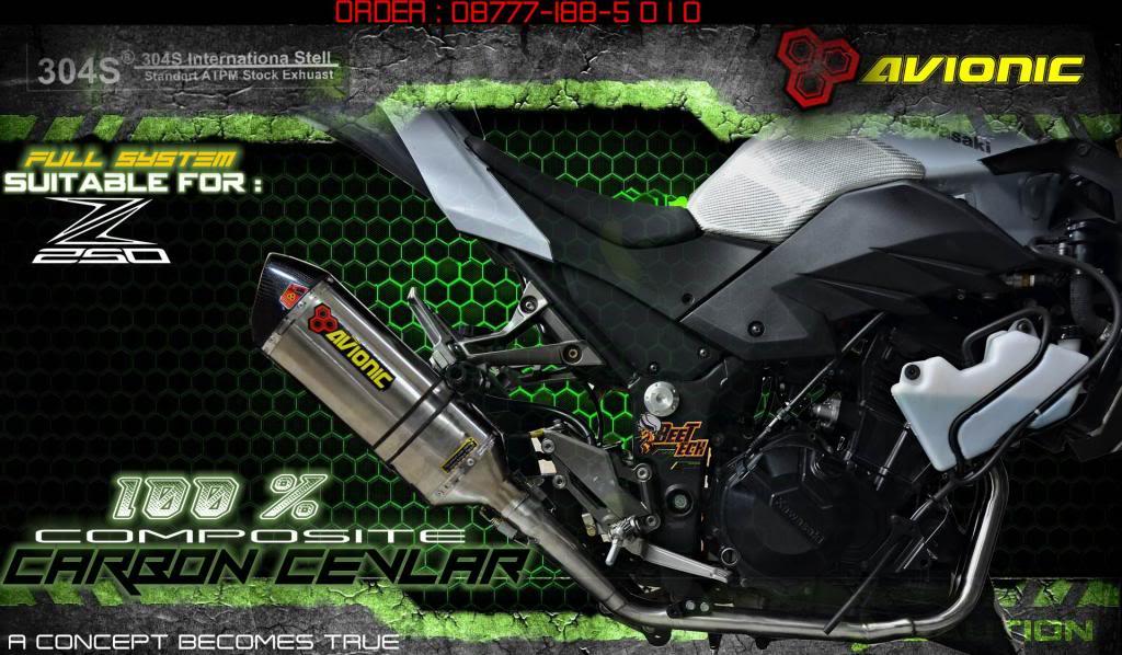 ▒▒▓█▀100% CARBON CEVLAR▀█▓▒▒Knalpot Avionic  Ninja 250Fi / Z250 model Akrapovic Z250FStampaksampingCARBONNEW_zpsa08d97e1