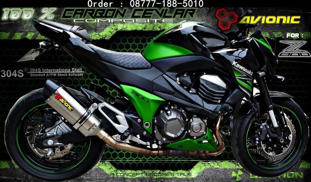▒▒▓█▀100% CARBON CEVLAR▀█▓▒▒Knalpot AVIONIC Kawasaki Z800 model Akrapovic Z800debesarpanCARBONNEW_zps3e02a819