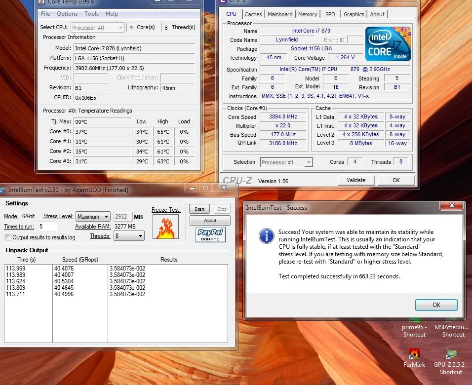 Gigabyte GA-H55N i7-870 on Air OC mini-atx - Page 4 Ocburn22x177pass8x