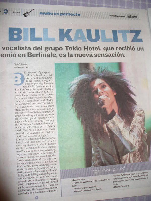 "Weekend, La Prensa ""Nadie es Perfecto"" Billkaulitzprensa002-3"