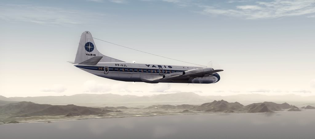Símbolo da Ponte Aérea SP-RJ Lockheed L-188 Electra Varig 19