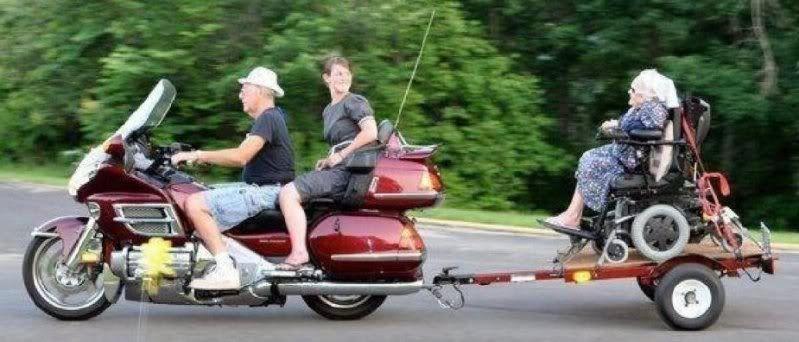 Humorous Motorcycle Pics GoldWingpullinggrandmaontrailer