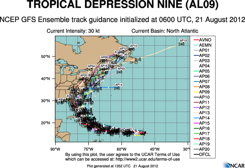 The Atlantic Express - Tropical Storm Isaac - Tropical STorm Joyce- and New AOI Aal09_2012082106_track_gfs
