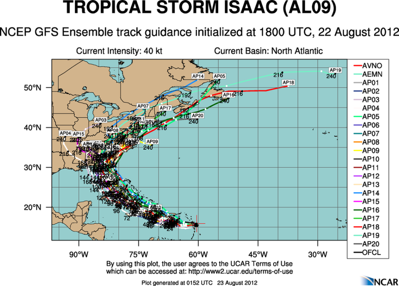 The Atlantic Express - Tropical Storm Isaac - Tropical STorm Joyce- and New AOI Aal09_2012082218_track_gfs