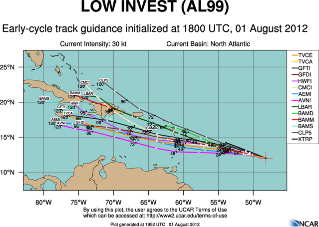 CLOSED Tropical Storm Conditions Possible For the Leeward/Windward Islands This Weekend. Aal99_2012080118_track_early