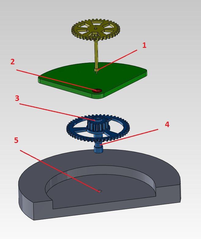 Huilage: roue de centre et roue de seconde C_eclatee