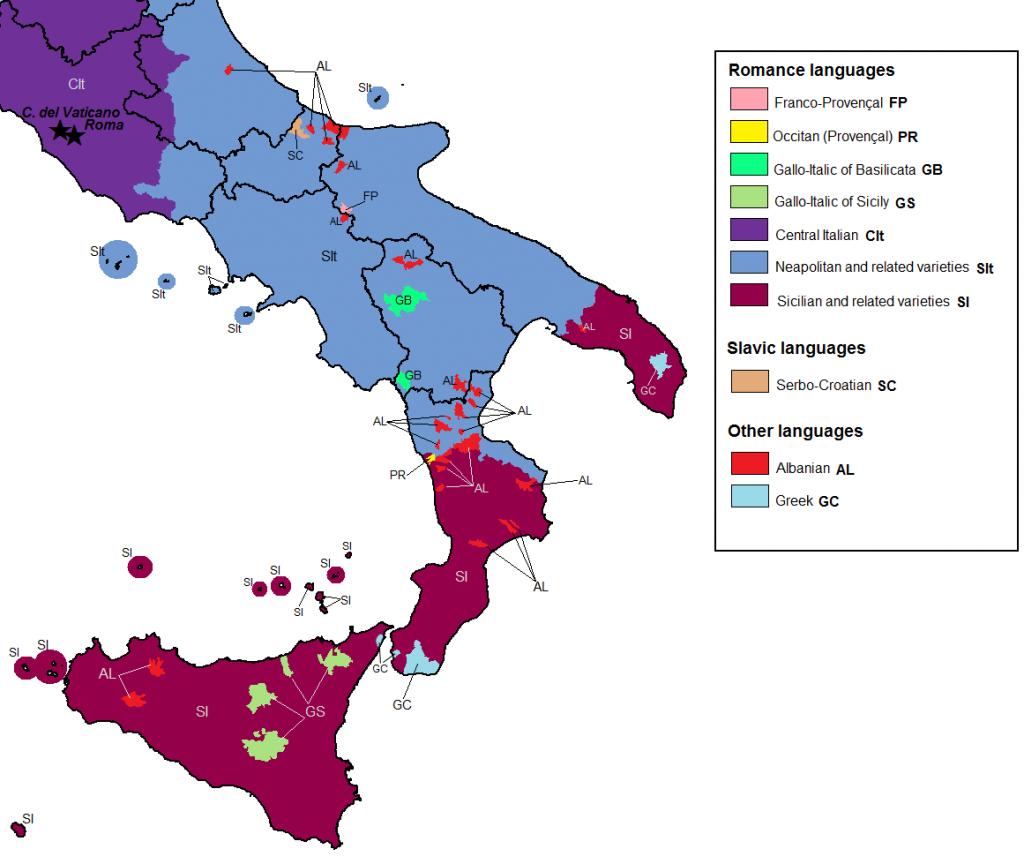 Shqiptarët në Itali - statistika / harta Linguistic_map_of_Italy_zps8633bc18