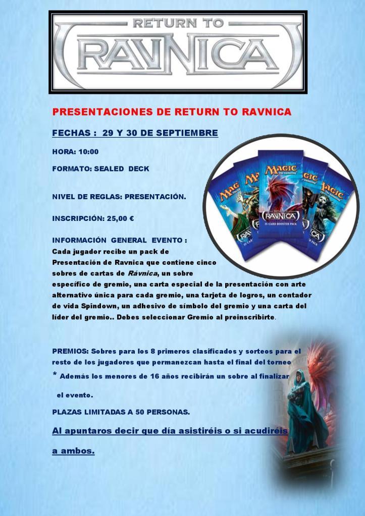 Presentaciones de  Return to Ravnica 29 y 30 de Septiembre En Alexandria Presentacionesderavnica-page-001