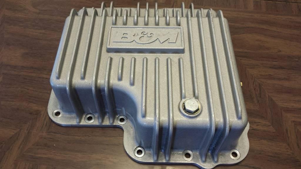 B&M finned aluminum transmision pan pics  (new price  $95.00 + shipping) 20160415_174813_zpsb67d2fcb