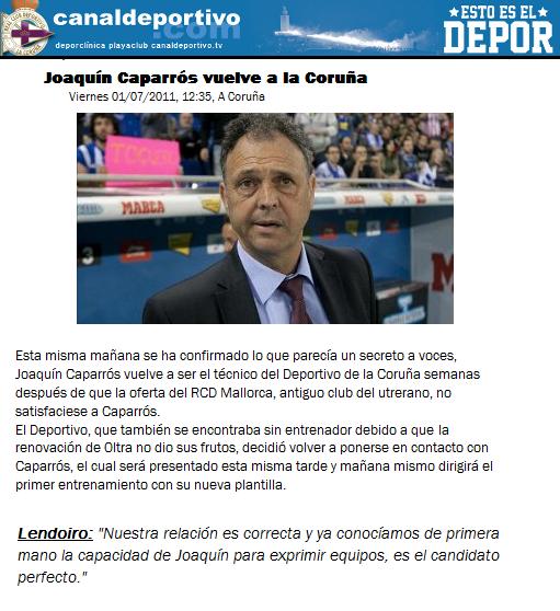 [FM12] Joaquín Caparrós vuelve a La Coruña Cap