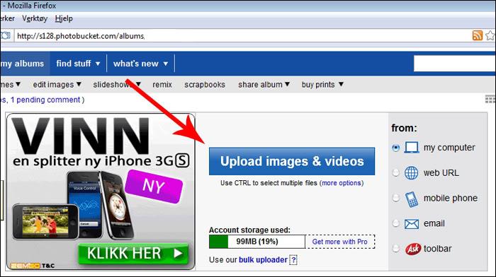 Hvordan laste opp bilder via Photobucket Bilde2
