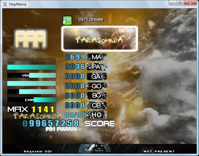 The stepmania brag board Parasomnia