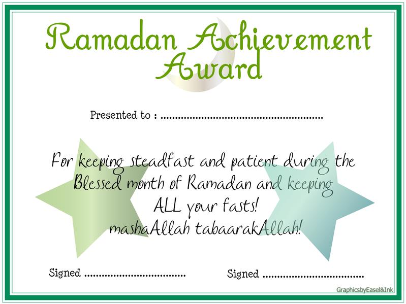 *Ramadan Achievement Award* Achievementchartfasting2