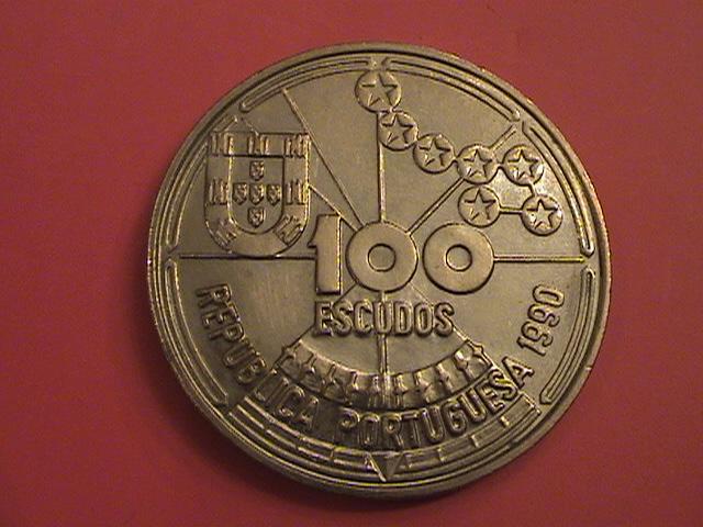 """Portugal, 100 Escudos 1989 """"Ilhas Canarias"""" SC/UNC y artículo en prensa DSC09040_zpsa98aca29"""