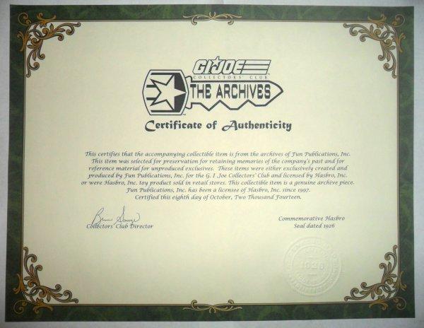 G.I. Joe Collectors' Club 2009 Membership Figure - Undertow  GIJCC-Certificate