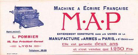 La Manufacture d'Armes de Paris (MAP) : Histoire des matériels fabriqués Machineaecrire