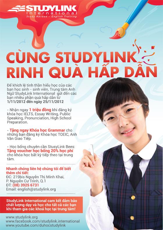Cùng StudyLink Rinh Quà Hấp Dẫn FlyerAnhngu