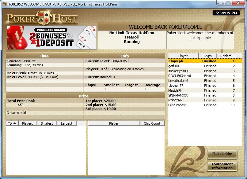 Poker Host game today PokerHost101009