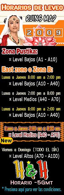 Propuesta de horario de leveo para Ruins. Zona-leveoSURYA