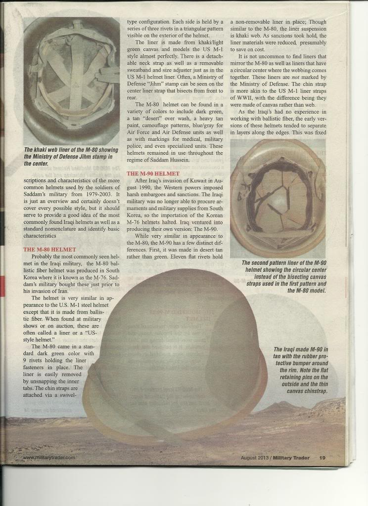 Iraqi helmet article in Military Trader Magazine Scan_Pic0002_zpse68b0f29