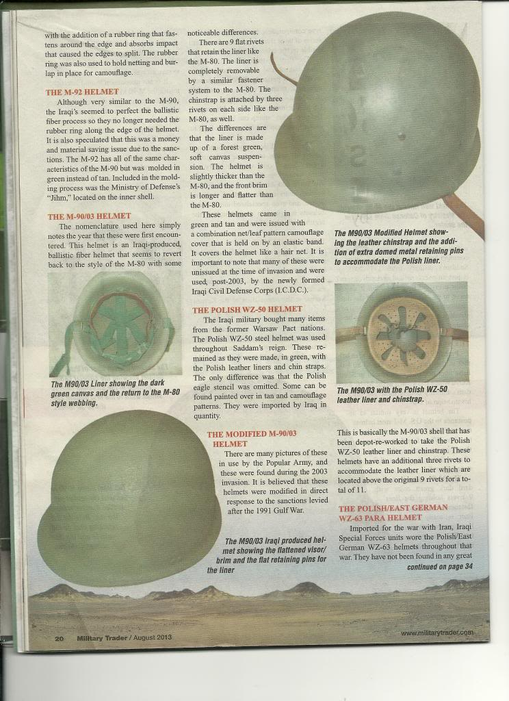 Iraqi helmet article in Military Trader Magazine Scan_Pic0003_zps4abccc9b
