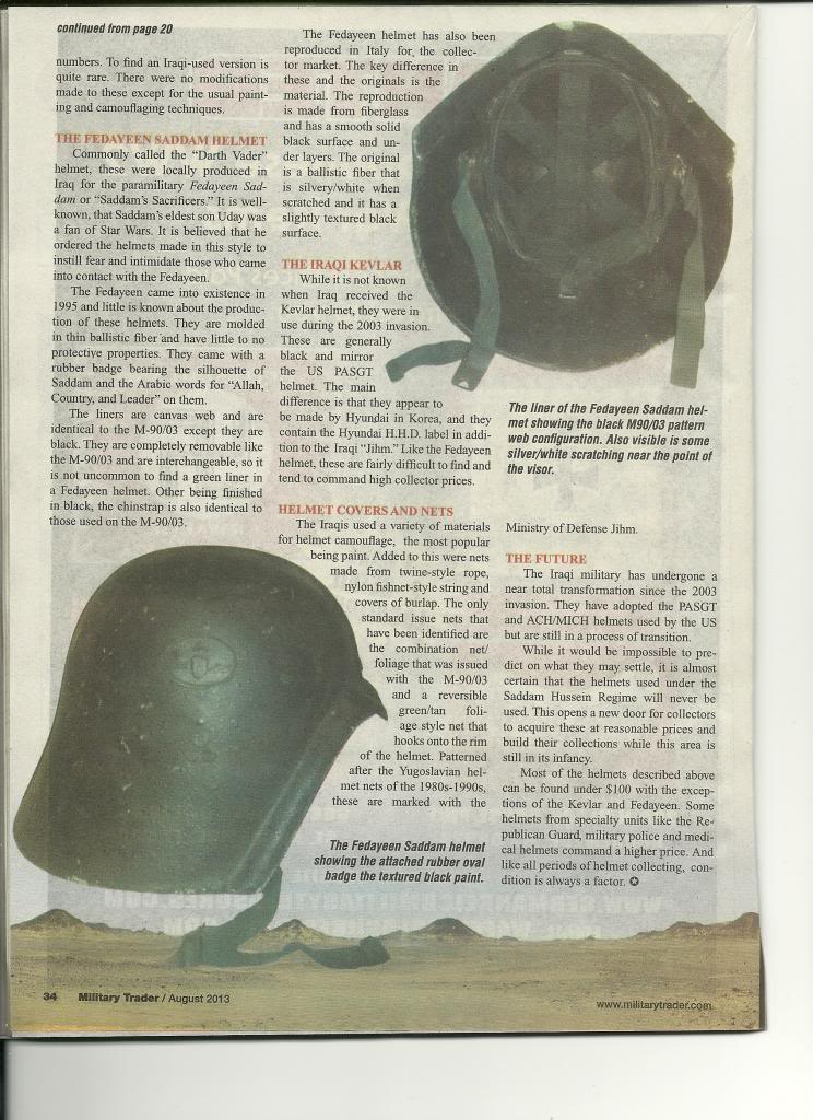 Iraqi helmet article in Military Trader Magazine Scan_Pic0004_zpsa8a867e2