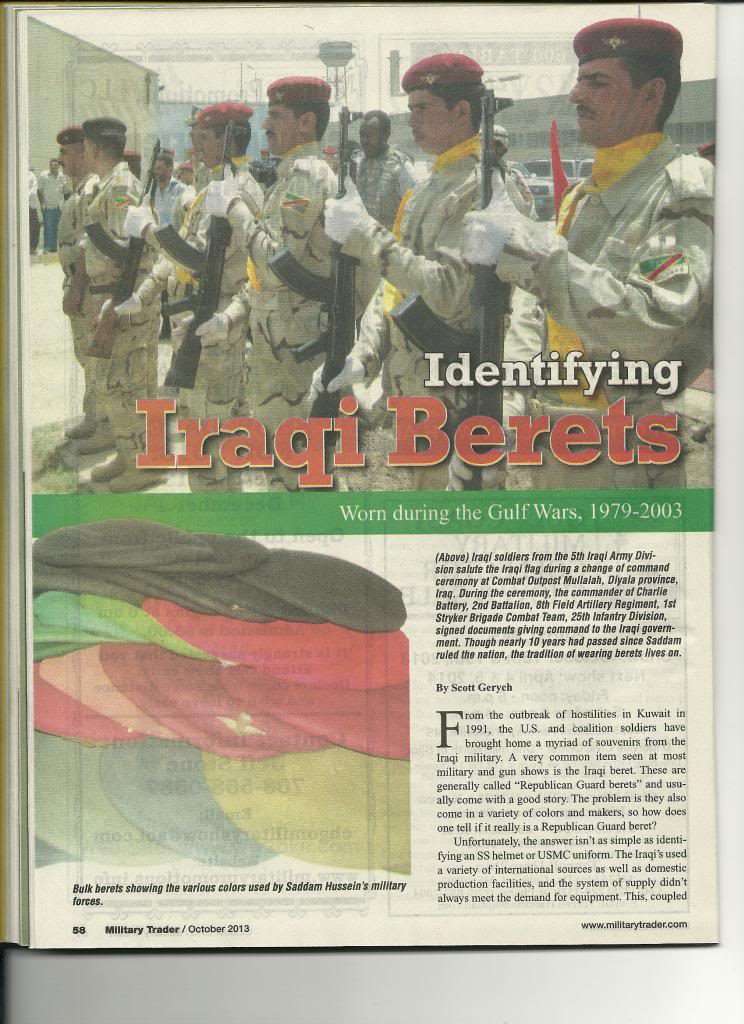 Iraqi helmet article in Military Trader Magazine Scan_Pic0005_zps25d4bfda