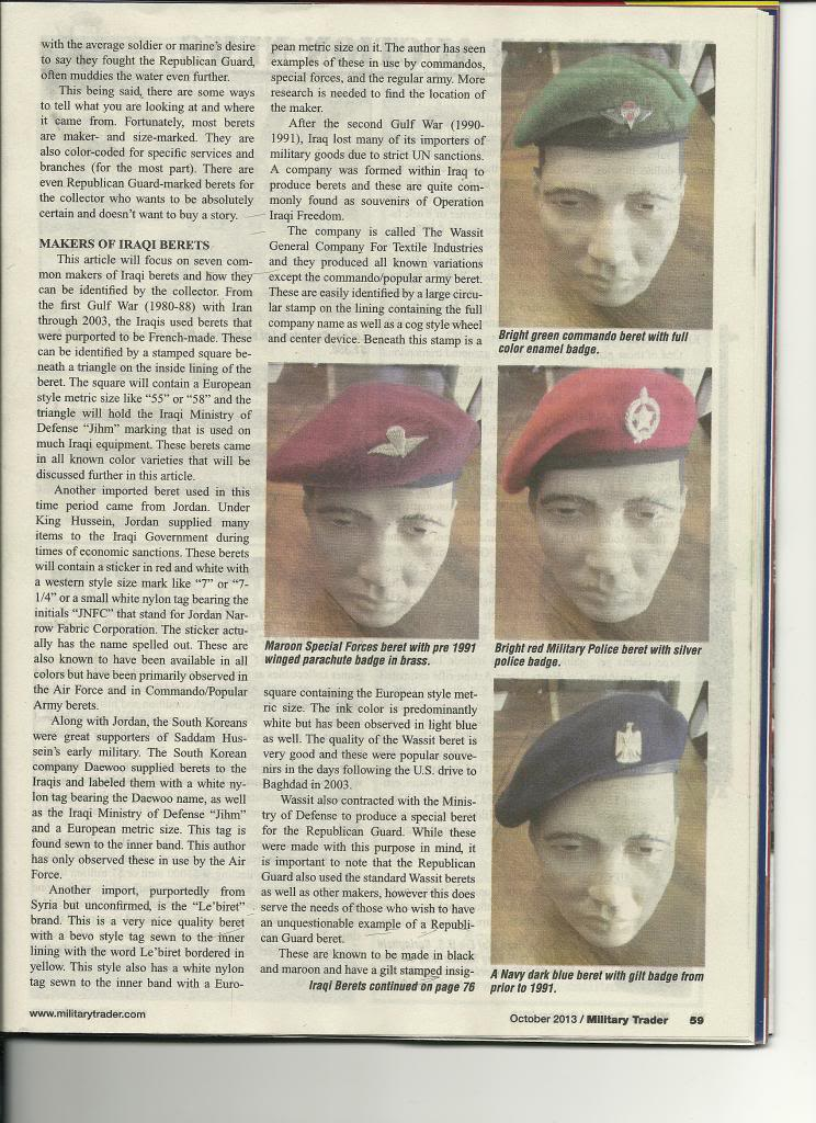 Iraqi helmet article in Military Trader Magazine Scan_Pic0006_zpsdd0361a2