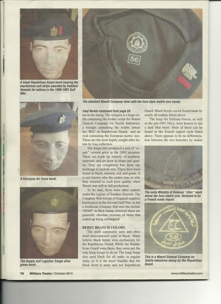 Iraqi helmet article in Military Trader Magazine Scan_Pic0007_zps466d5480
