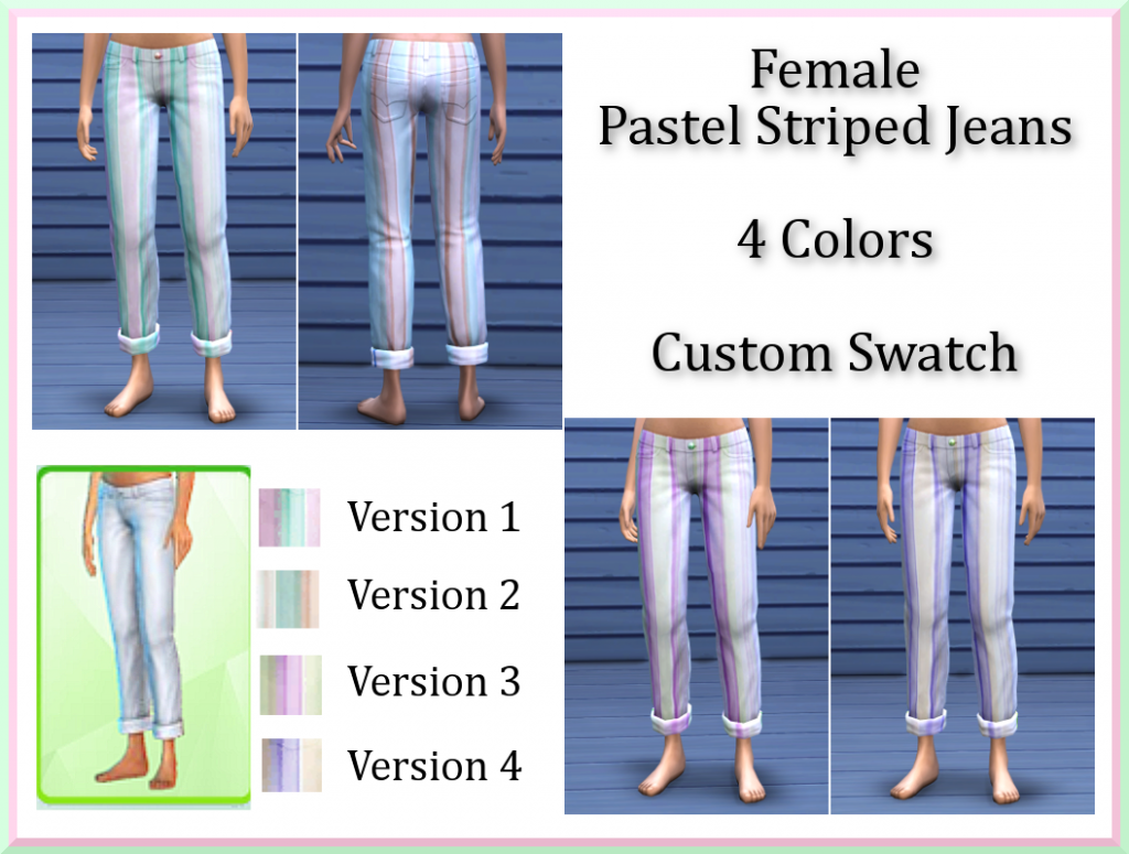 Female Pastel Striped Rolled Jeans by InaMac69 Stripedjeans_zps403faed6