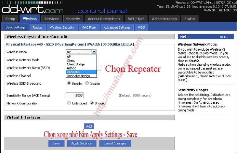 Hướng dẫn cấu hình Repeater (thu sóng phát lại) Rip1
