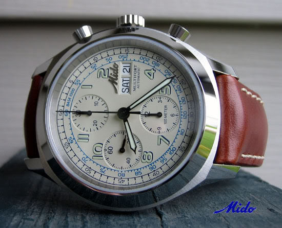 Mido Multifort Chronograph with Champagne Dial MidoFrontwithlogo
