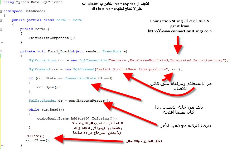 تعرف على كيفية إستخدام الكائن Data Reader  Datareader