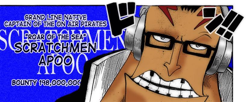 Apoo: từ Đại Hải Trình, thuộc chủng tộc người Tay Dài, Thuyền trưởng của On  Air Pirates.
