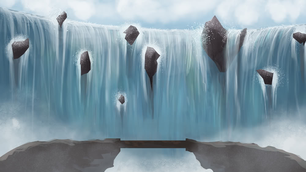 2D Background Montage Thread Waterfall