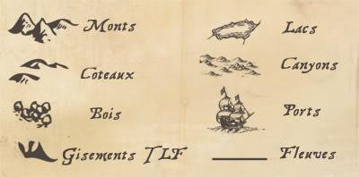 Cartes de la ville, de l'archipel et du monde Reliefslgende