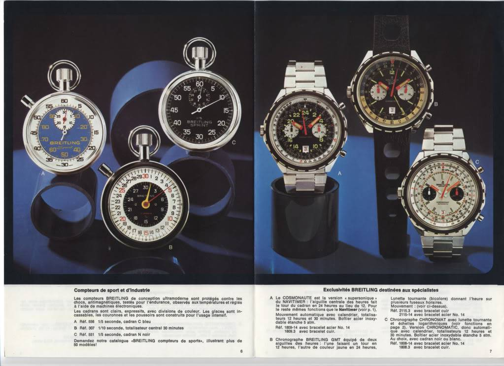 (documents) documentation commerciale Breitling années 70 P6-7